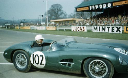 Stirling Moss driving Aston Martin DBR2